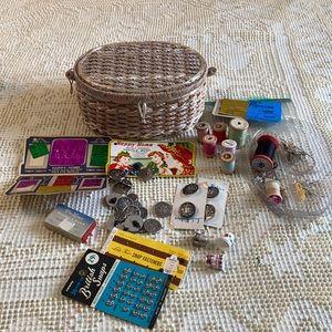 Vintage Wicker Sewing Basket made in Japan